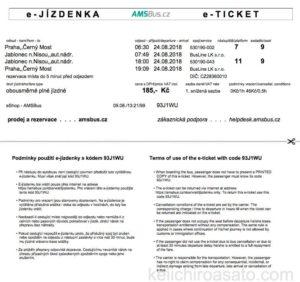 ヤブロネツ・ナド・ニソウへのバスチケット